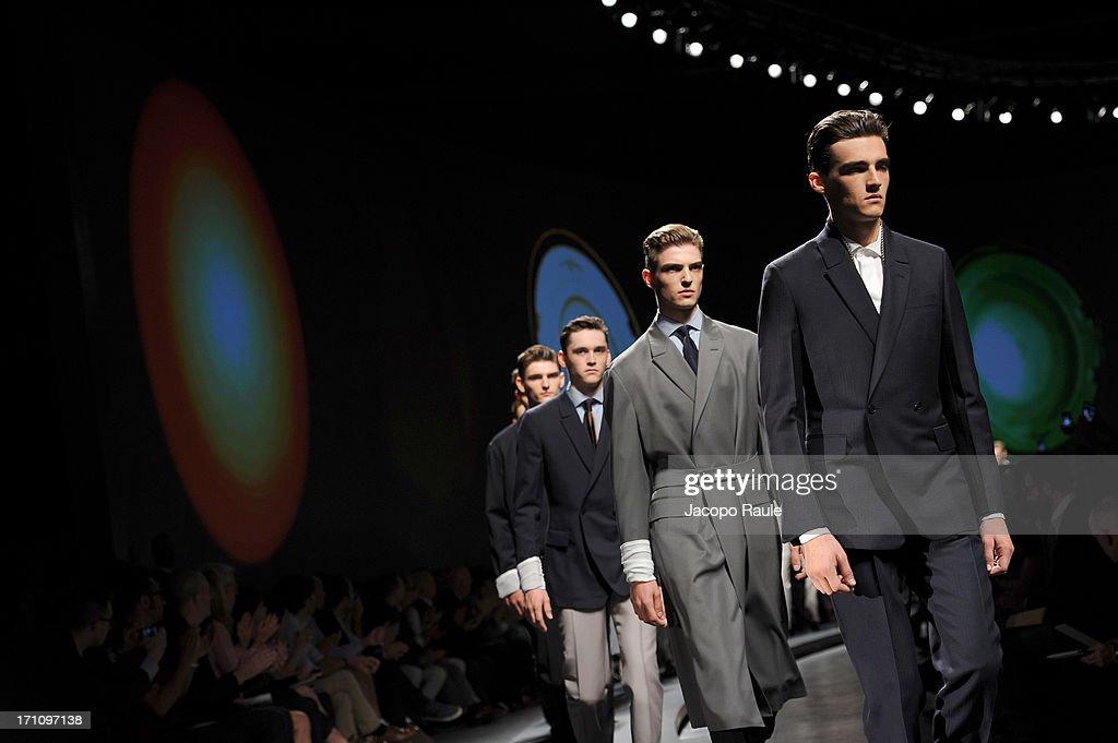 Models walk the runway at Ermenegildo Zegna show during Milan Menswear Fashion Week Spring Summer 2014 on June 22, 2013 in Milan, Italy.