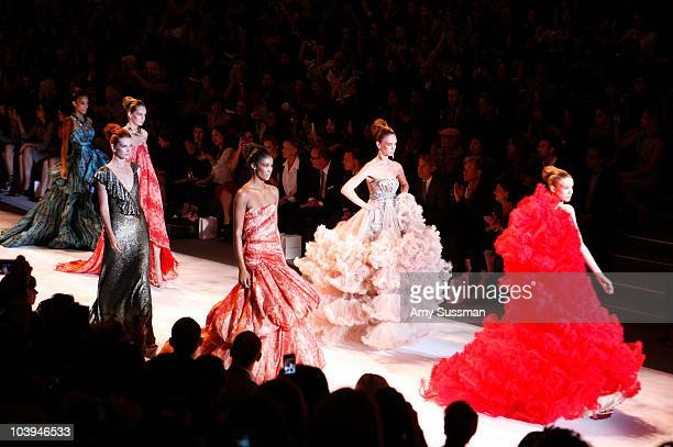 Models walk the runway at Fiji at Christian Siriano Spring 2011 during MercedesBenz Fashion Week at The Stage at Lincoln Center on September 9 2010...