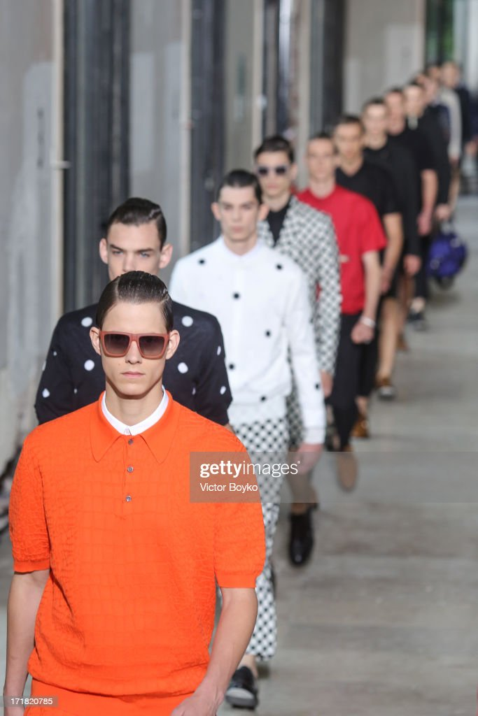 Models walk the runway at Krisvanassche Menswear Spring/Summer 2014 Show As Part Of The Paris Fashion Week on June 28, 2013 in Paris, France.