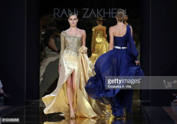 Models walk the runway at Rani Zakhem Fall/Winter 2017/18 fashion show during AltaRoma at Guido Reni District on July 7 2017 in Rome Italy