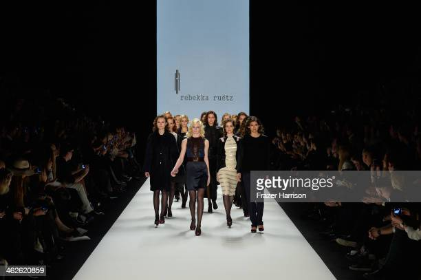 Models walk the runway at Rebekka Ruetz show during MercedesBenz Fashion Week Autumn/Winter 2014/15 at Brandenburg Gate on January 14 2014 in Berlin...