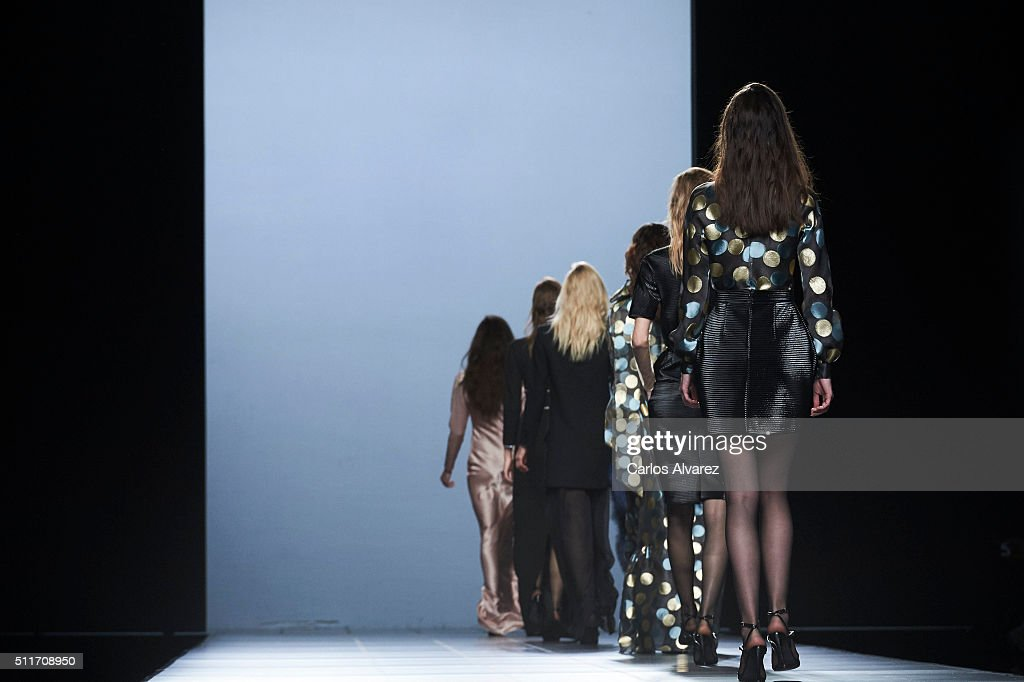 Models walk the runway at The 2nd Skin Co show during the MercedesBenz Madrid Fashion Week Autumn/Winter 2016/2017 at Ifema on February 22 2016 in...