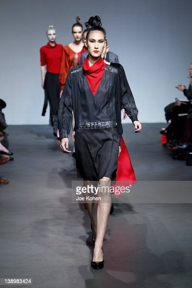 Models walk the runway at the 4 Corners of a Circle fall 2012 fashion show during MercedesBenz Fashion Week at the Audi Forum on February 14 2012 in...