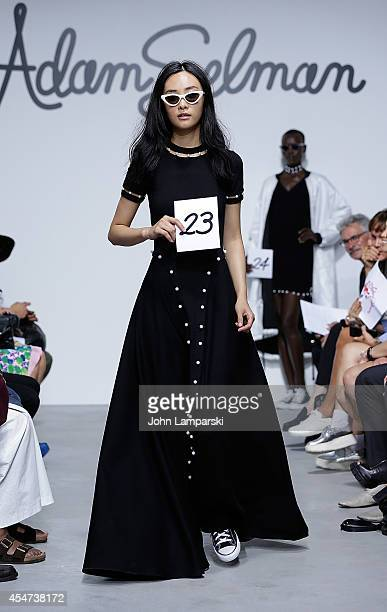 Models Walk the runway at the Adam Selman Presentation MercedesBenz Fashion Week Spring 2015 at Algus Greenspon Gallery on September 5 2014 in New...