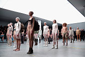Models walk the runway at the adidas Originals x Kanye West YEEZY SEASON 1 fashion show during New York Fashion Week Fall 2015 at Skylight Clarkson...