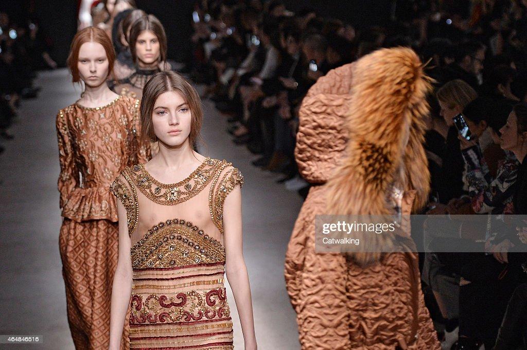 Models walk the runway at the Alberta Ferretti Autumn Winter 2015 fashion show during Milan Fashion Week on February 25 2015 in Milan Italy