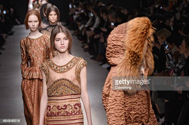 Models walk the runway at the Alberta Ferretti Autumn Winter 2015 fashion show during Milan Fashion Week on February 25 2015 in Milan Italy