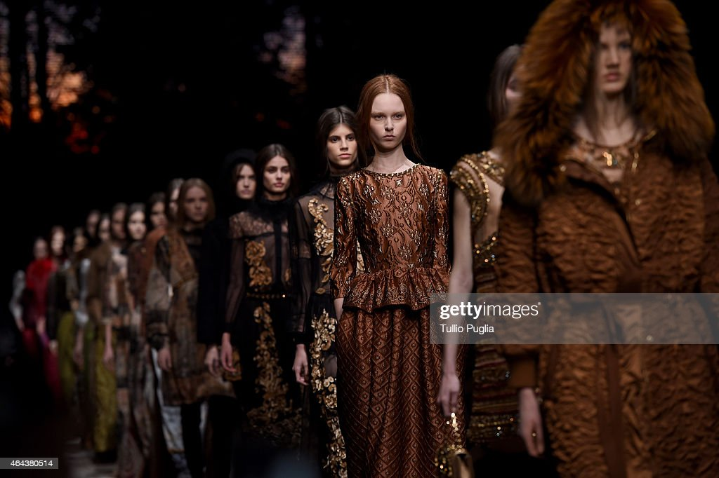 Models walk the runway at the Alberta Ferretti show during the Milan Fashion Week Autumn/Winter 2015 on February 25 2015 in Milan Italy