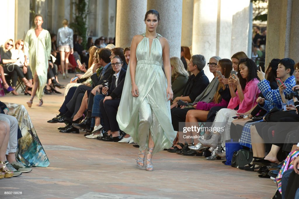 Models walk the runway at the Alberta Ferretti Spring Summer 2018 fashion show during Milan Fashion Week on September 20, 2017 in Milan, Italy.