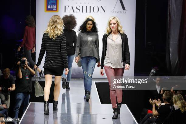 Models walk the runway at the ALDI SUED x Anastacia collection launch 'Music loves Fashion' at EWerk on September 7 2017 in Cologne Germany