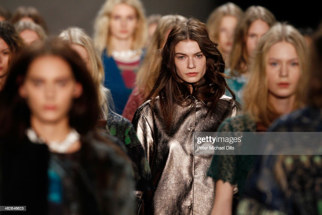 Models walk the runway at the Alena Akhmadullina - presented by Mercedes-Benz and ELLE Backstage show during Mercedes-Benz Fashion Week Autumn/Winter 2014/15 at Brandenburg Gate on January 14, 2014 in Berlin, Germany.