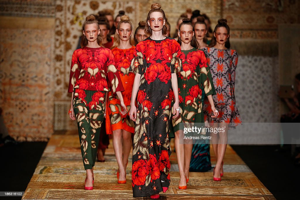 Models walk the runway at the Alena Akhmadullina show during Mercedes-Benz Fashion Week Russia S/S 2014 on October 30, 2013 in Moscow, Russia.