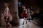 Models walk the runway at the Alexander McQueen Autumn Winter 2015 fashion show during Paris Fashion Week on March 10 2015 in Paris France
