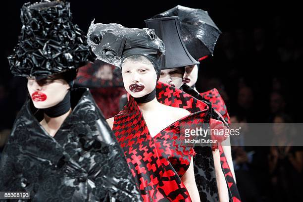 Models walk the runway at the Alexander McQueen ReadytoWear A/W 2009 fashion show during Paris Fashion Week at POPB on March 10 2009 in Paris France