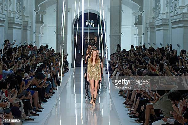 Models walk the runway at the Alexander Vaulthier Autumn Winter 2015 fashion show during Paris Haute Couture Fashion Week on July 7 2015 in Paris...