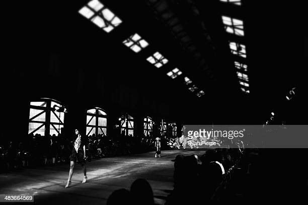 Models walk the runway at the Alice McCall show during MercedesBenz Fashion Week Australia 2014 at Bay 25 Carriageworks on April 10 2014 in Sydney...