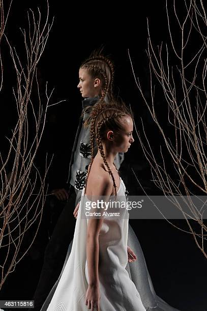 Models walk the runway at the Alvarno show during Madrid Fashion Week Fall/Winter 2015/16 at Ifema on February 10 2015 in Madrid Spain