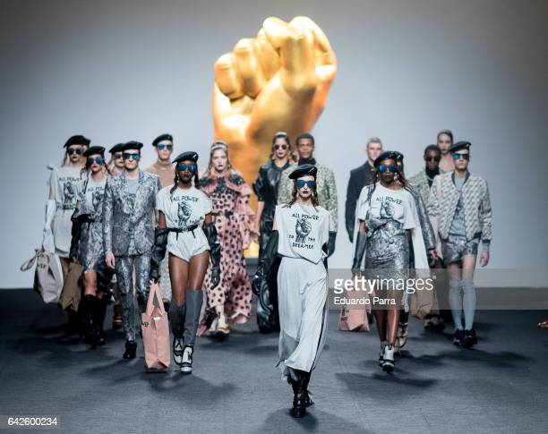 Models walk the runway at the Ana Locking show during the MercedesBenz Madrid Fashion Week Autumn/Winter 2017 at Ifema on February 18 2017 in Madrid...