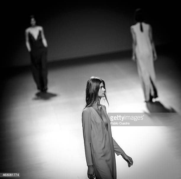 Models walk the runway at the Angel Schlesser show during Mercedes Benz Madrid Fashion Week at Ifema on February 9 2015 in Madrid Spain