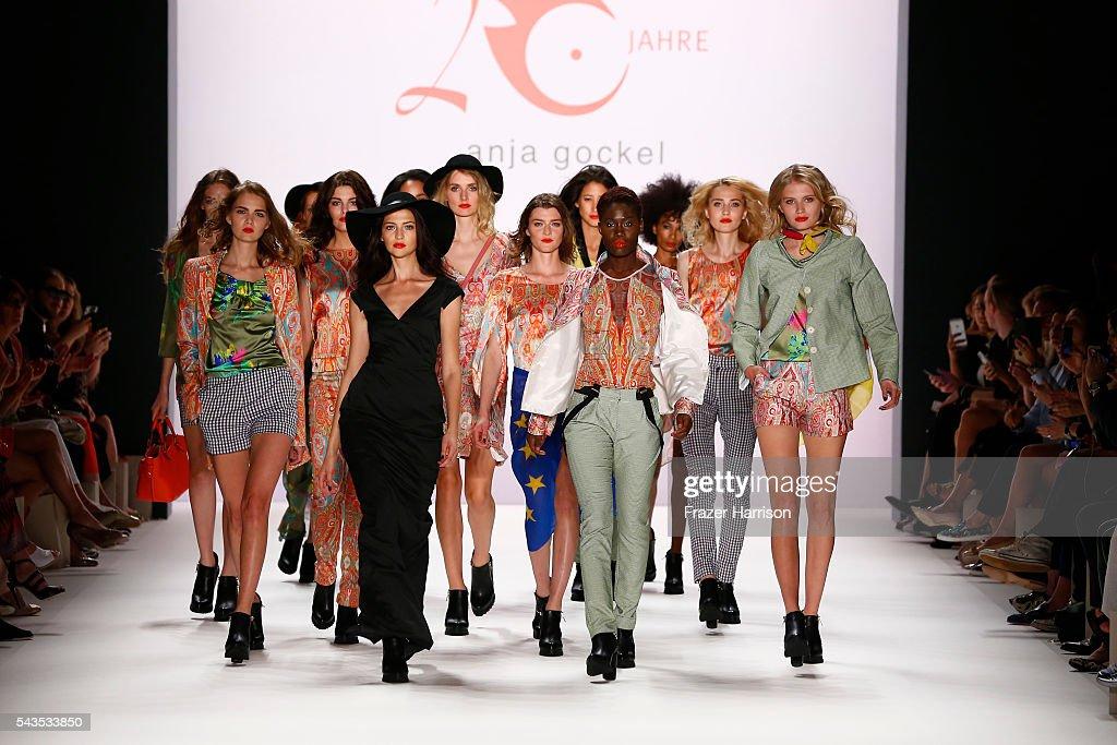 Models walk the runway at the Anja Gockel show during the Mercedes-Benz Fashion Week Berlin Spring/Summer 2017 at Erika Hess Eisstadion on June 29, 2016 in Berlin, Germany.
