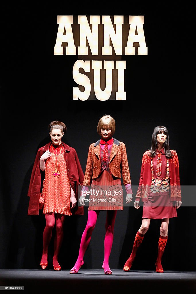 Models walk the runway at the Anna Sui Fall 2013 fashion show during Mercedes-Benz Fashion Week at The Theatre at Lincoln Center on February 13, 2013 in New York City.