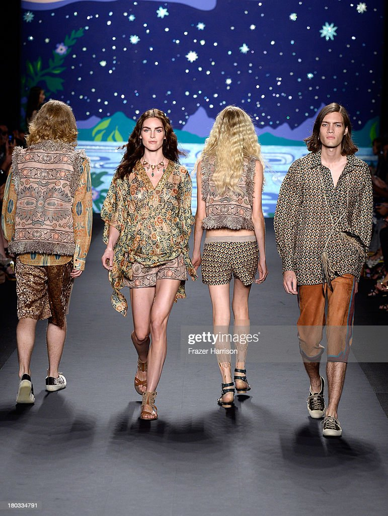 Models walk the runway at the Anna Sui fashion show during Mercedes-Benz Fashion Week Spring 2014 at The Theatre at Lincoln Center on September 11, 2013 in New York City.