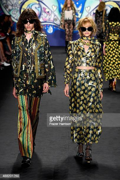 Models walk the runway at the Anna Sui fashion show during MercedesBenz Fashion Week Spring 2015 at The Theatre at Lincoln Center on September 10...