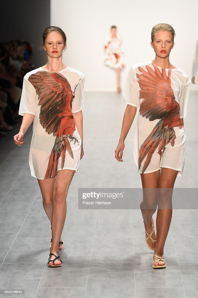 Models walk the runway at the Anne Gorke show during the Mercedes-Benz Fashion Week Spring/Summer 2015 at Erika Hess Eisstadion on July 11, 2014 in Berlin, Germany.