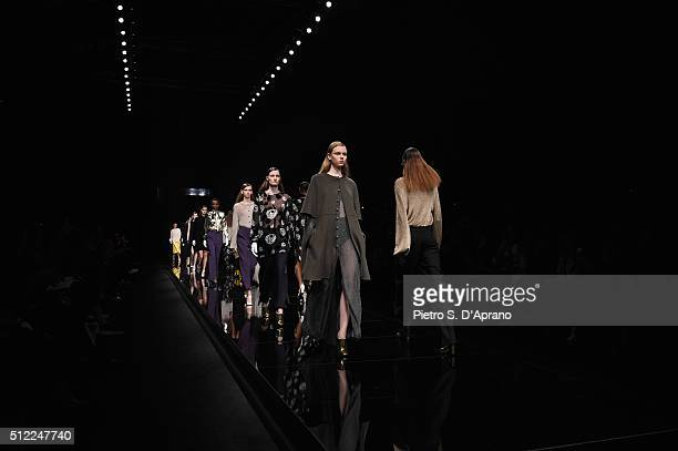 Models walk the runway at the Anteprima show during Milan Fashion Week Fall/Winter 2016/17 on February 25 2016 in Milan Italy