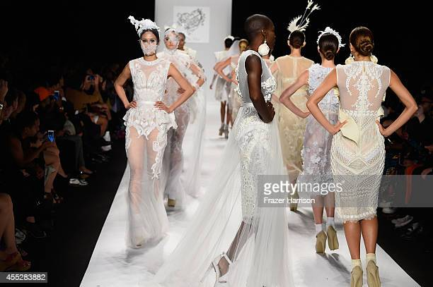Models walk the runway at the Art Hearts fashion show presented by AIDS Healthcare Foundation during MercedesBenz Fashion Week Spring 2015 at The...