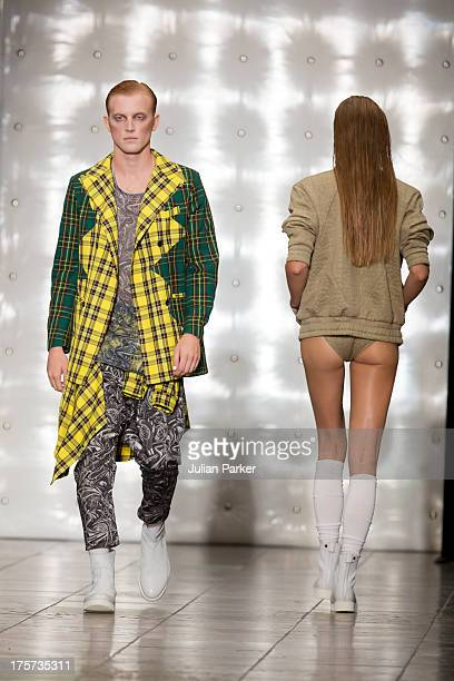 Models walk the runway at the Asger Juel Larsen show at Copenhagen City Hall on Day 1 of Copenhagen Fashion Week SS14 on August 7 2013 in Copenhagen...