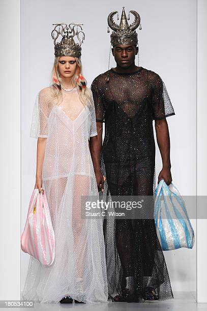Models walk the runway at the Ashish show during London Fashion Week SS14 at BFC Courtyard Showspace on September 14 2013 in London England