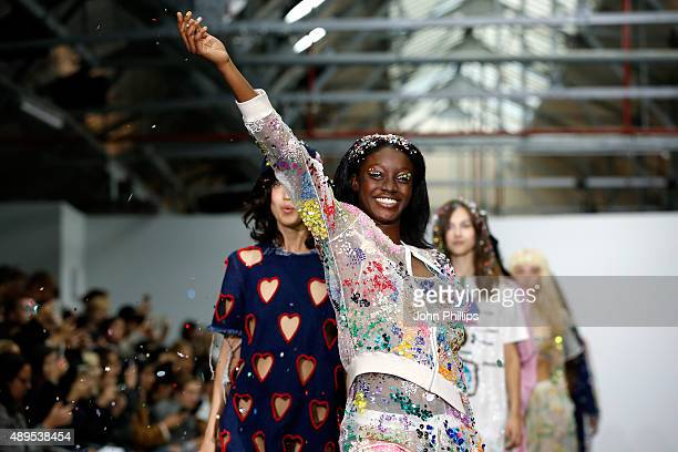 Models walk the runway at the Ashish show during London Fashion Week Spring/Summer 2016 on September 22 2015 in London England