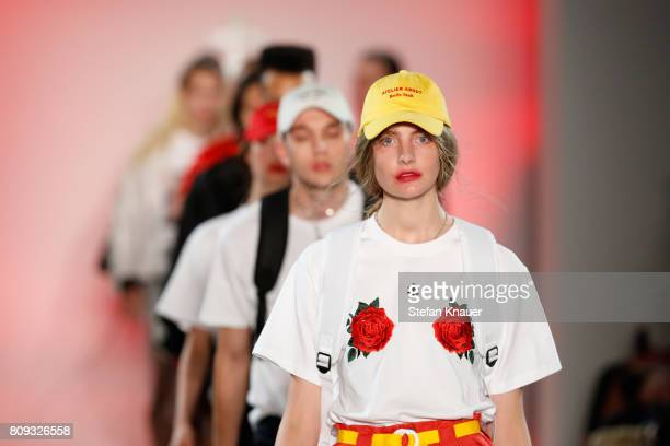 Models walk the runway at the Atelier About show during the MercedesBenz Fashion Week Berlin Spring/Summer 2018 at Kaufhaus Jandorf on July 5 2017 in...