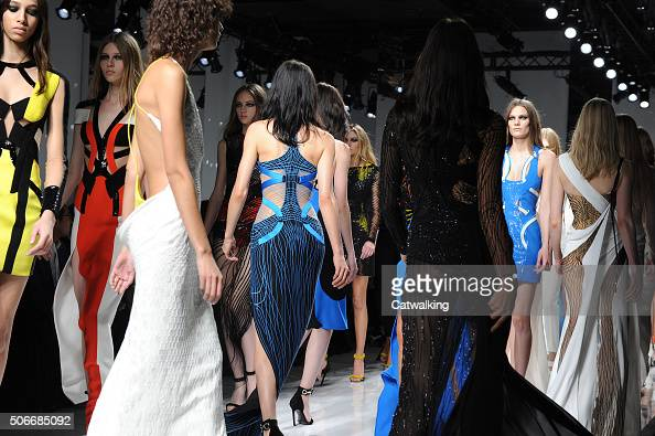 Models walk the runway at the Atelier Versace Spring Summer 2016 fashion show during Paris Haute Couture Fashion Week on January 24 2016 in Paris...