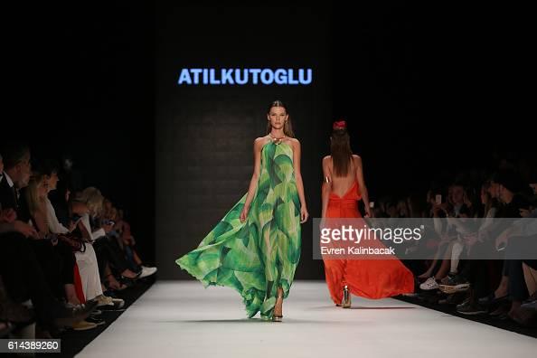 Models walk the runway at the Atil Kutoglu show during MercedesBenz Fashion Week Istanbul at Zorlu Center on October 13 2016 in Istanbul Turkey