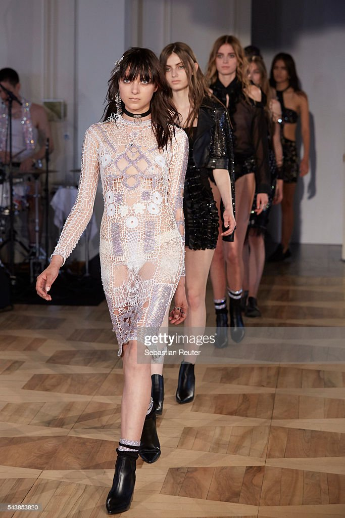 Models walk the runway at the Augustin Teboul show during the Mercedes-Benz Fashion Week Berlin Spring/Summer 2017 at Kronprinzenpalais on June 30, 2016 in Berlin, Germany.