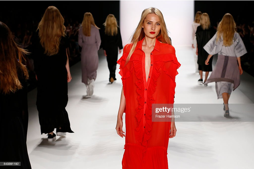 Models walk the runway at the Avelon show during the Mercedes-Benz Fashion Week Berlin Spring/Summer 2017 at Erika Hess Eisstadion on June 28, 2016 in Berlin, Germany.