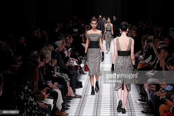 Models walk the runway at the Balenciaga Autumn Winter 2015 fashion show during Paris Fashion Week on March 6 2015 in Paris France