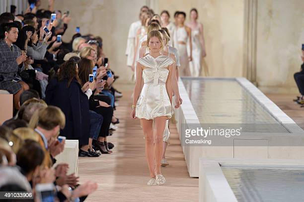 Models walk the runway at the Balenciaga Spring Summer 2016 fashion show during Paris Fashion Week on October 2 2015 in Paris France
