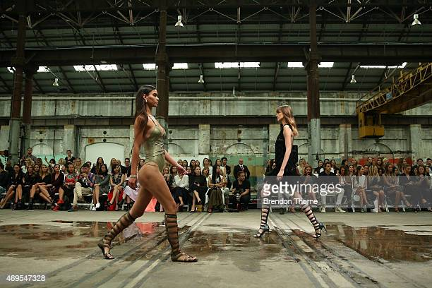 Models walk the runway at the Bec Bridge show at MercedesBenz Fashion Week Australia 2015 at Carriageworks on April 13 2015 in Sydney Australia