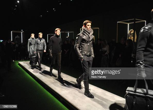 Models walk the runway at the Belstaff Autumn/Winter 2012 show at London Fashion Week at The Lindley Hall on February 19 2012 in London England