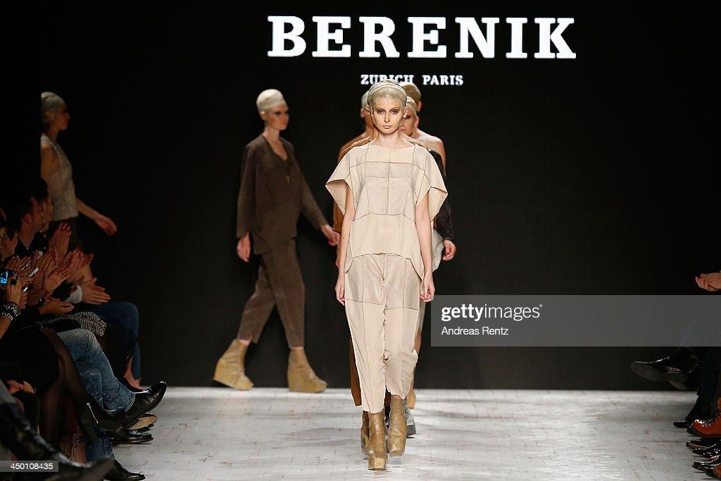 Models walk the runway at the Berenik show during Mercedes-Benz Fashion Days Zurich 2013 on November 16, 2013 in Zurich, Switzerland.