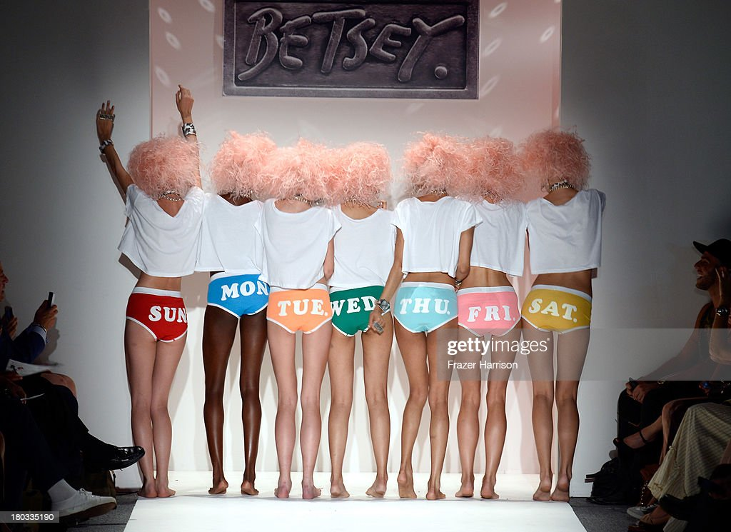 Models walk the runway at the Betsey Johnson fashion show during Mercedes-Benz Fashion Week Spring 2014 at The Studio at Lincoln Center on September 11, 2013 in New York City.
