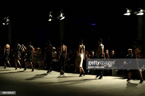 Models walk the runway at the Bianca Spender show during MercedesBenz Fashion Week Australia 2014 at Biennale Bay 2224 Carriageworks on April 9 2014...