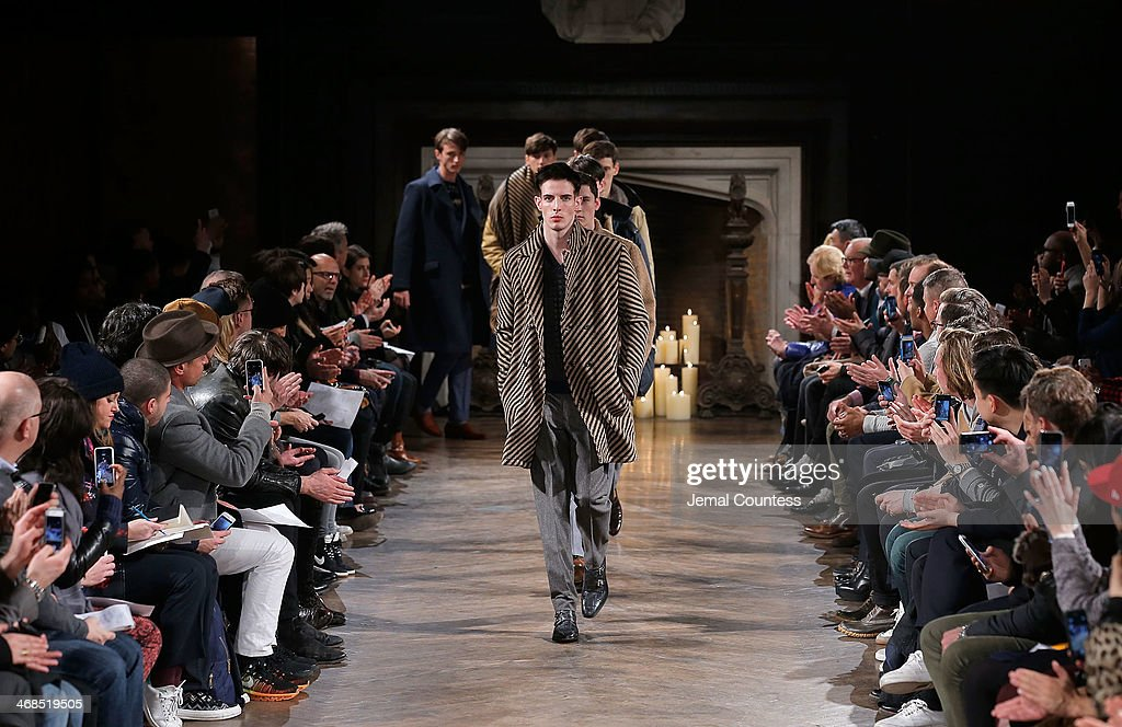Models walk the runway at the Billy Reid Men's fashion show during Mercedes-Benz Fashion Week Fall 2014 at The Highline Hotel on February 10, 2014 in New York City.