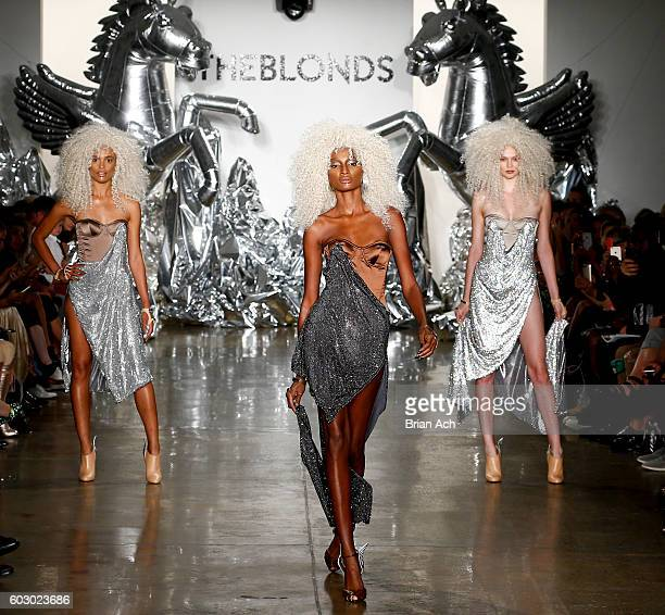 Models walk the runway at The Blonds fashion show during MADE Fashion Week September 2016 at Milk Studios on September 11 2016 in New York City