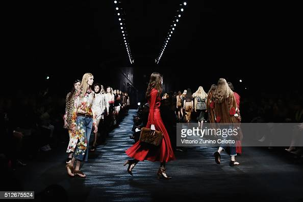 Models walk the runway at the Blumarine show during Milan Fashion Week Fall/Winter 2016/17 on February 27 2016 in Milan Italy