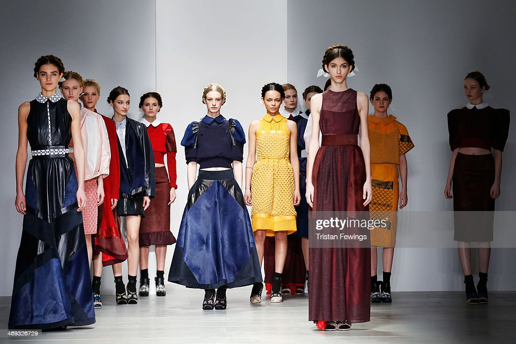 Models walk the runway at the Bora Aksu show at London Fashion Week AW14 at Somerset House on February 14, 2014 in London, England.
