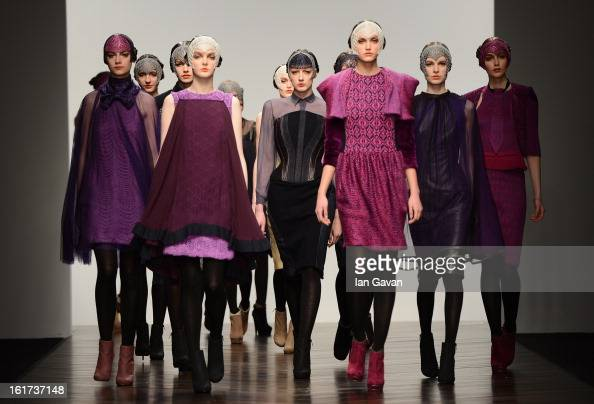 Models walk the runway at the Bora Aksu show during London Fashion Week Fall/Winter 2013/14 at Somerset House on February 15 2013 in London England